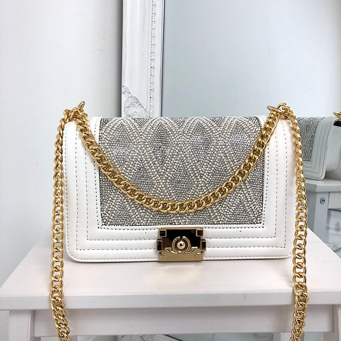 Chantel - White with Silver/ Pearl Detail Gold Chain & Clasp Cross Body Bag