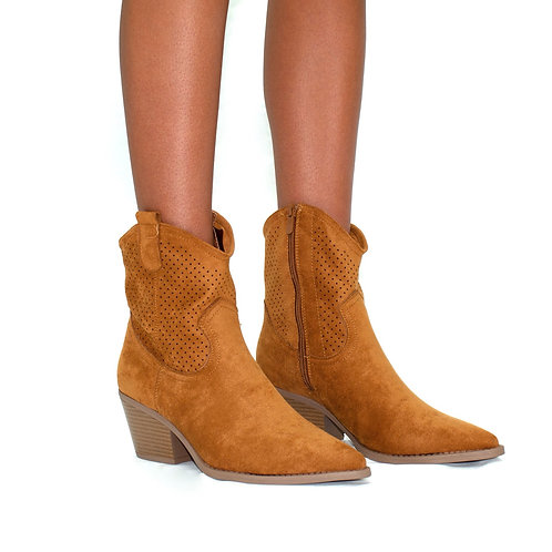 Miley - Camel Cowboy Style Block Heel Ankle Boots