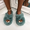 Thumbnail: Bear - Blue Fluffy Crisscross Slip On Slider Slippers