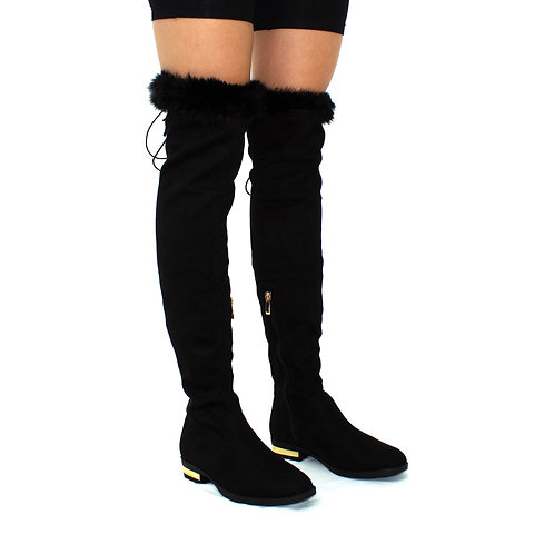 Felicity- Black Faux Suede Thigh-High w/ Gold Detail Tie-Up Fluff Trim Boots