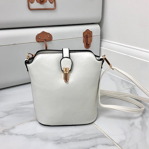 White Faux Leather and Gold Clip in Cross Body Zip Up Bag