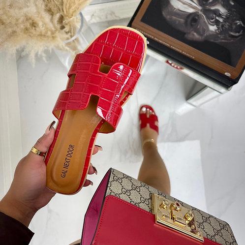 Hillary - Red Patent Croc H Style Flat Slider Sandal