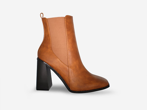 Tammy - Tan Faux Leather Square Toe Ankle Boots
