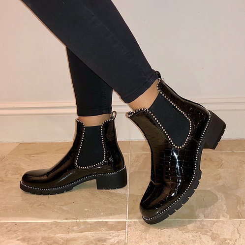 Hailey - Black Patent Croc Print Silver Ball Ankle Boot