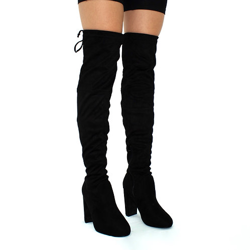 Kendall  - Black Faux Suede Over The Knee Tie Up Block Heel Boots