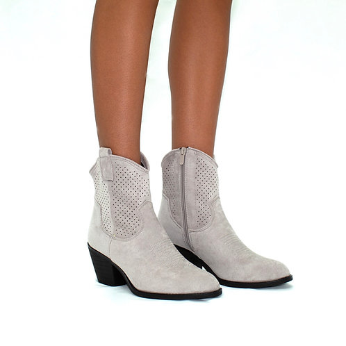 Miley - Grey Cowboy Style Block Heel Ankle Boots