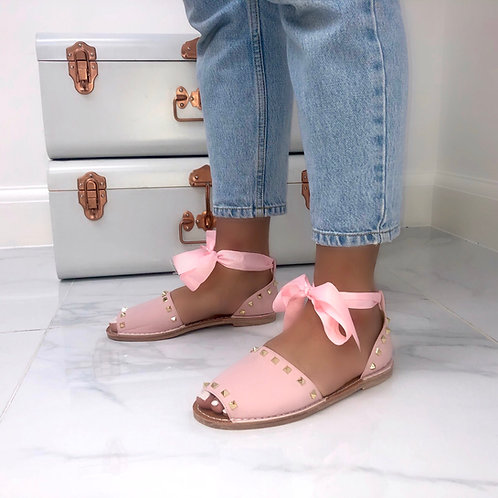 Charlie - Pink Studded Tie-Up Flat Sandals