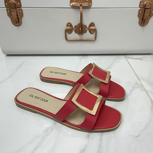 Esmerelda - Red With Gold Square Detail and Cut Outs Flat Slip On Sandals