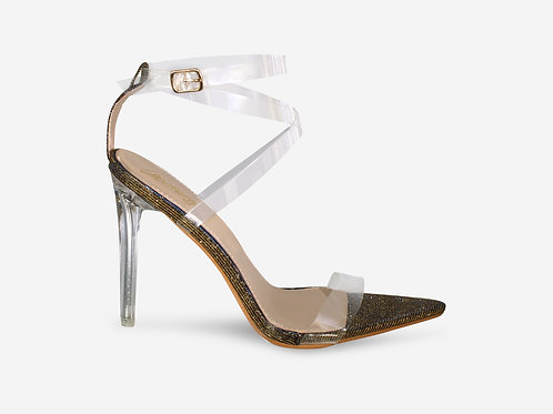 Whitney - Gold/ Blue Two-tone Perspex Straps Clear Heel