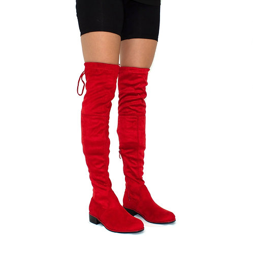 Ray - Red Faux Suede Zip Tie Up Thigh High Boots