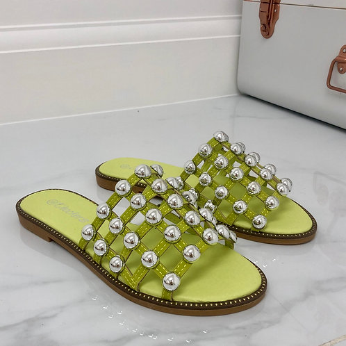 Elouise - Lime Silver Ball Slider Sandals