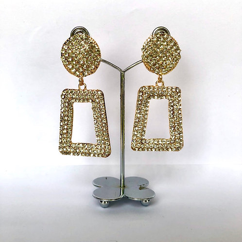 Large Gold Frame with Silver Diamanté Earrings