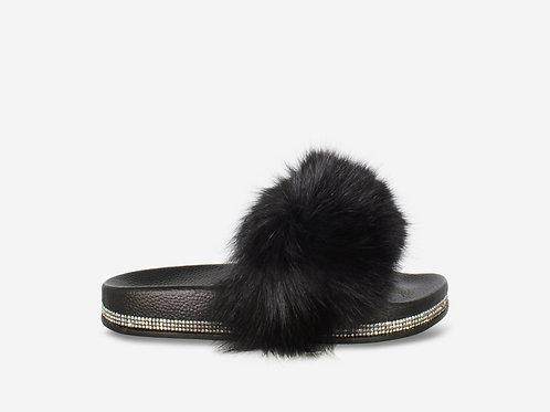 Ellie - Black Vegan Fur Fluffy Sliders With Diamanté Sole