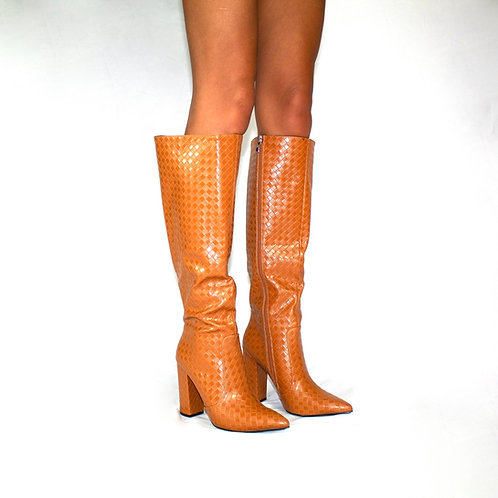 Marilyn- Camel Check Print Knee High Cowboy Style Pointed Toe Block Heel Boots
