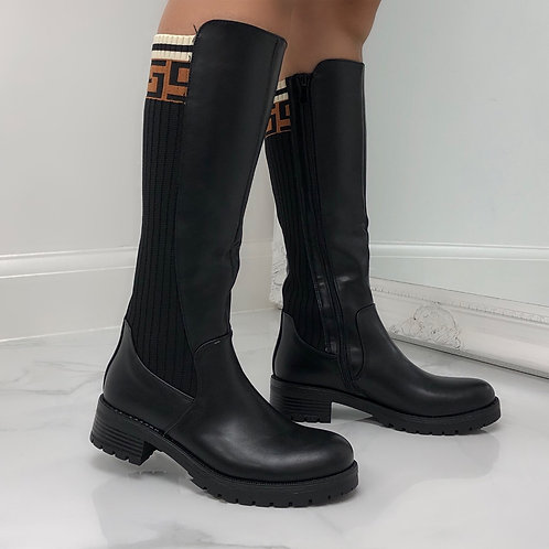 Nicki - Black Faux Leather With Stretchy Knit Brown/Cream Detail Knee High Boots
