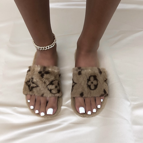 Libby - Brown Printed Slippers