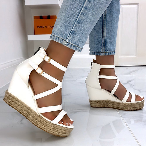 Luna - White Strappy Woven Sole Wedges
