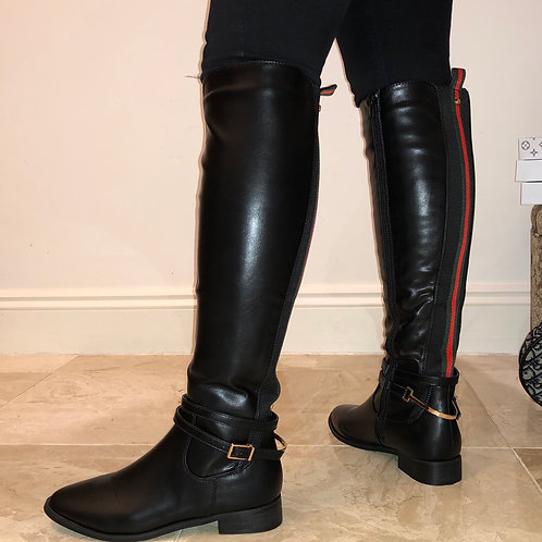 Megan - Black Faux Leather Red/Green Detail Knee High Boot