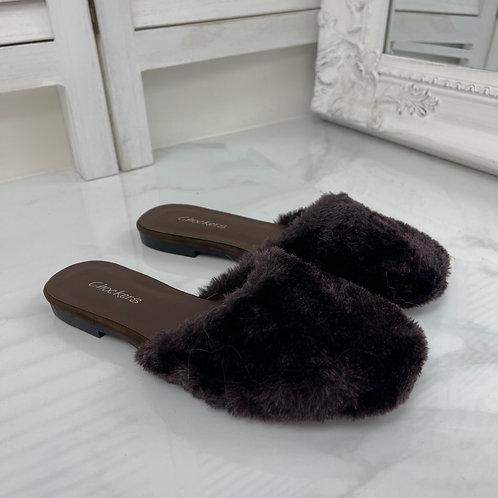 Talliah - Chocolate Faux Fur Slip On Sliders