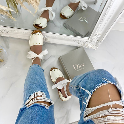 Charlie - White Studded Tie-Up Flat Sandals