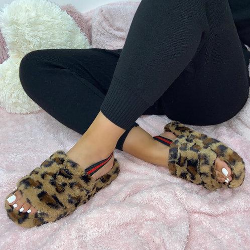 Sky - Leopard Print Fluffy Sling Back Slider Sandals