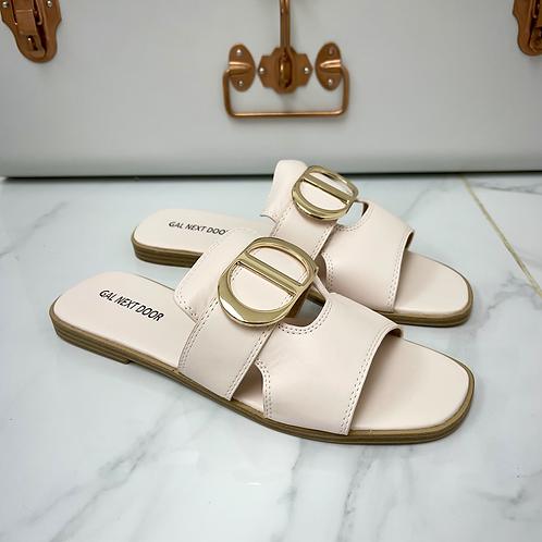 Dakota - Pale Pink with Gold Detail Slip On Flat Sandal