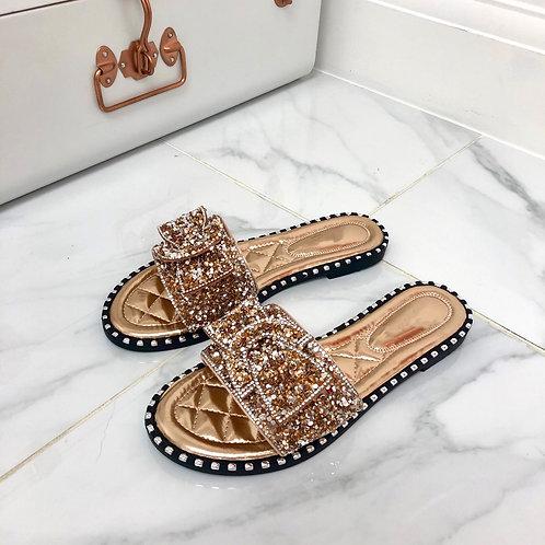 Caris - Rosegold Sequin Belt Design Flat Slip On Sandal