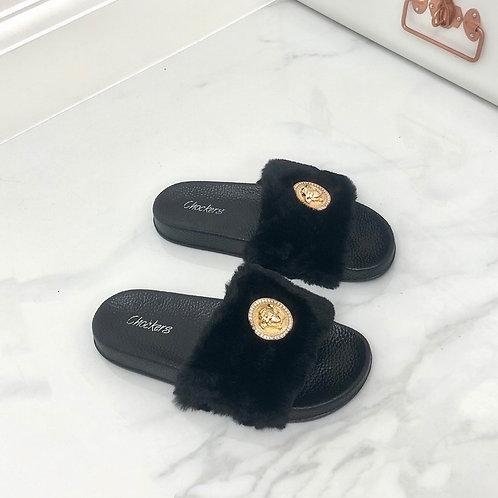 Ruby - Black Vegan Fur Gold Medallion Slider