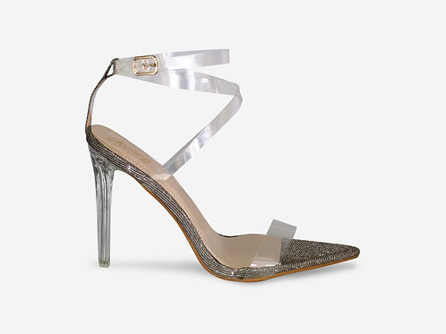 Whitney - Silver/ Black Two-tone Perspex Straps Clear Heel