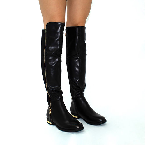 Kiara - Black Faux  Leather with Lycra Stretch and Gold Detail Knee High Boots