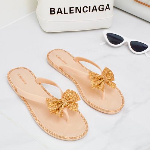Bella - Nude Jelly Bronze Diamanté Bow Flat Sandal