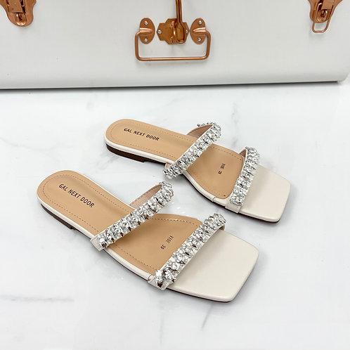 Vibe - White Double  Strap Jewel Detail Square Toe Slip On Sandals