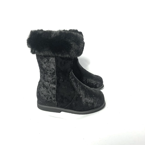 Marielle - Black Crushed Velvet with Black Fur Ankle Boot