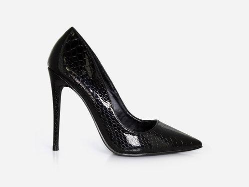 Zoe - Black Patent Snake Print Stiletto Court Heel
