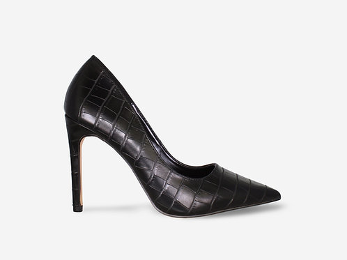 Stacey - Black Croc Print Stiletto Court Heel