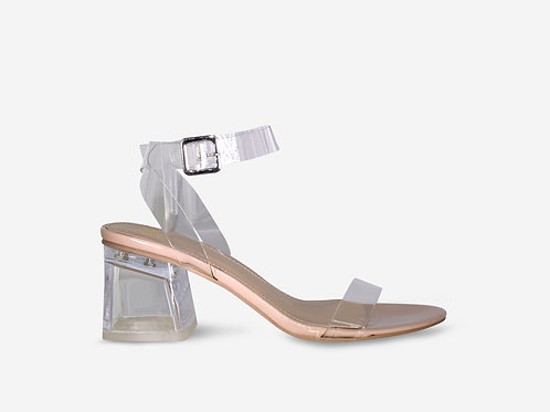 Alice - Nude Patent Perspex Straps Clear Low Block Heel
