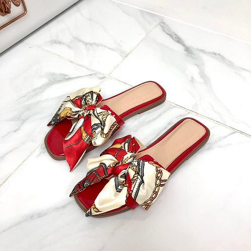Polly - Red Patent with Pink Chain Print Silk Scarf Bow Slip On Sandals