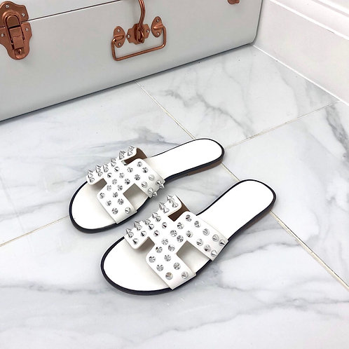 Adele - White with Silver Spikes H Style Flat Slider Sandal
