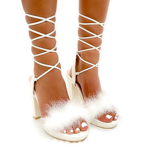 Lacey - White Faux Leather Fluffy Tie Up Block Heels