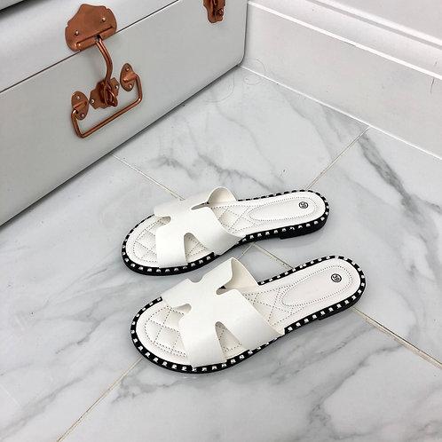 Vivienne - White H Style Flat Slider Sandal