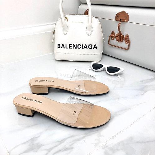 Madison - Nude Patent Perspex Round toe Flat Slider Sandal