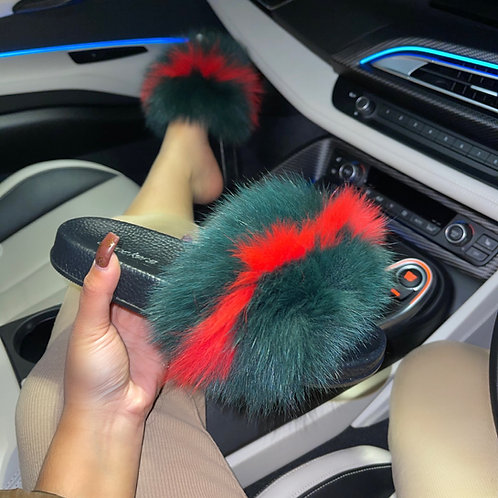 Boo- Green and Red Faux Fur Sliders