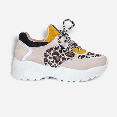 Kelly - Cream Mustard Leopard Print Chunky Sole Trainer