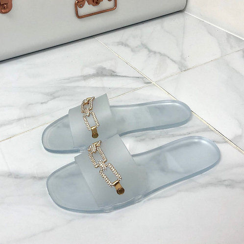 Harper - Transparent Jelly Gold Diamanté Chain Slider Sandal