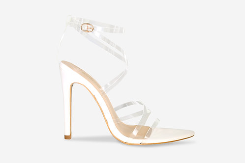 Katie - White Pointed Toe Perspex Strappy Heel