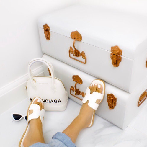 Hillary - White H Style Flat Slider Sandal