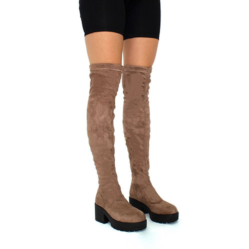 Elise- Mocha Faux Suede with Black Sole Zip Up Thigh High Boots