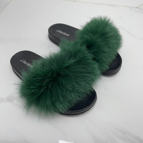 Celine - Green Faux Fur Fluffy Sliders