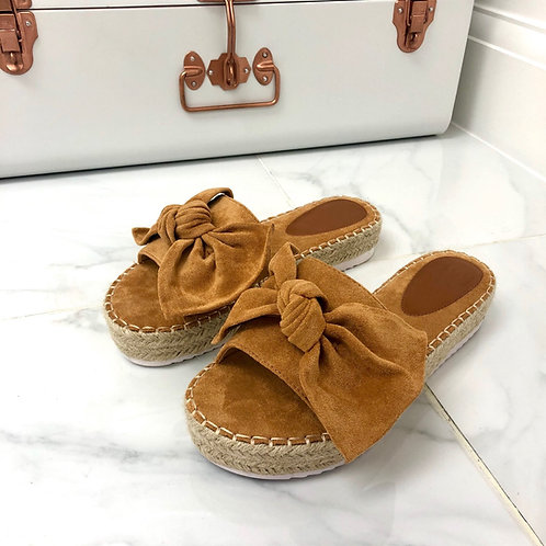 Maria - Camel Faux Suede Bow Chunky Woven Sole Flat Slider Sandal