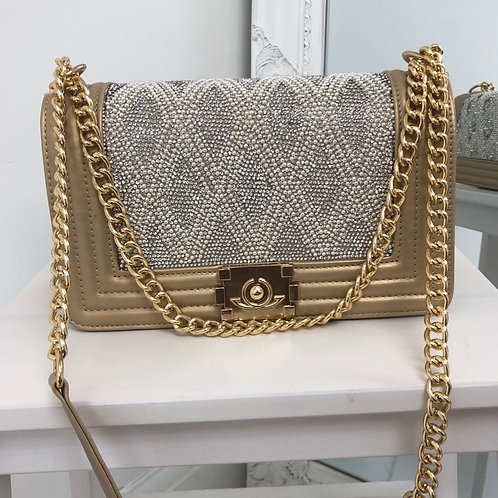 Chantel - Gold with Silver/ Pearl Detail Gold Chain & Clasp Cross Body Bag